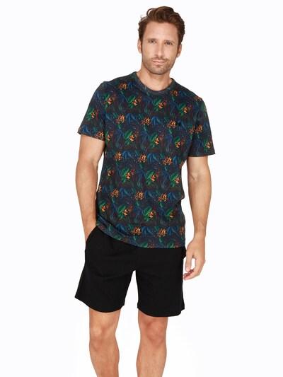 HOM Pyjama 'Dark Botanic' in mischfarben / schwarz, Modelansicht