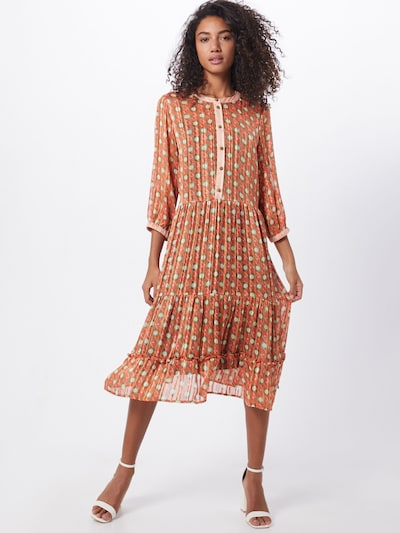 NÜMPH Kleid 'NUAMABEL' in creme / rot: Frontalansicht