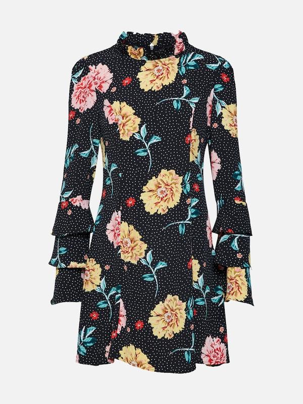 Noir Robe Dress' En Jaune Dot 'polka High Neck Floral Missguided D'été Rose gxAPwq77
