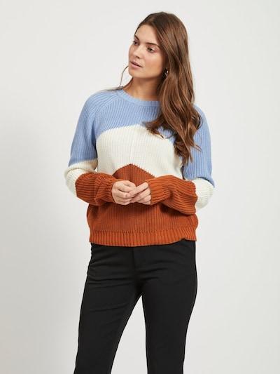 OBJECT Pullover in hellblau / rostbraun / naturweiß, Modelansicht