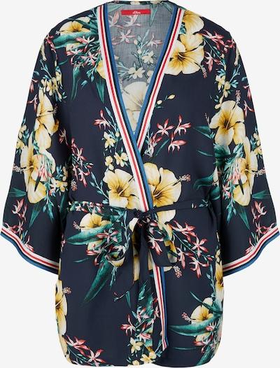 s.Oliver Leichter Kimono mit floralem Print in ultramarinblau / gelb / grün, Produktansicht