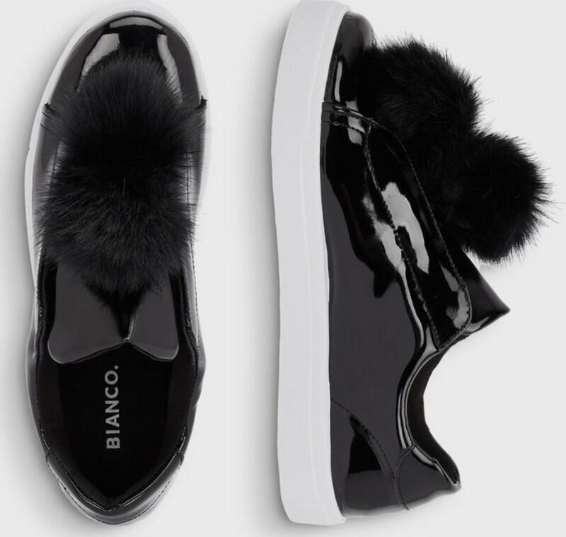 Bianco Pompon-Sneaker Günstige und langlebige Schuhe