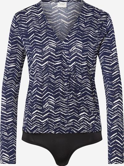 JACQUELINE de YONG T-shirt 'JDYHEART L/S WRAP BODY JRS' en bleu marine / blanc, Vue avec produit