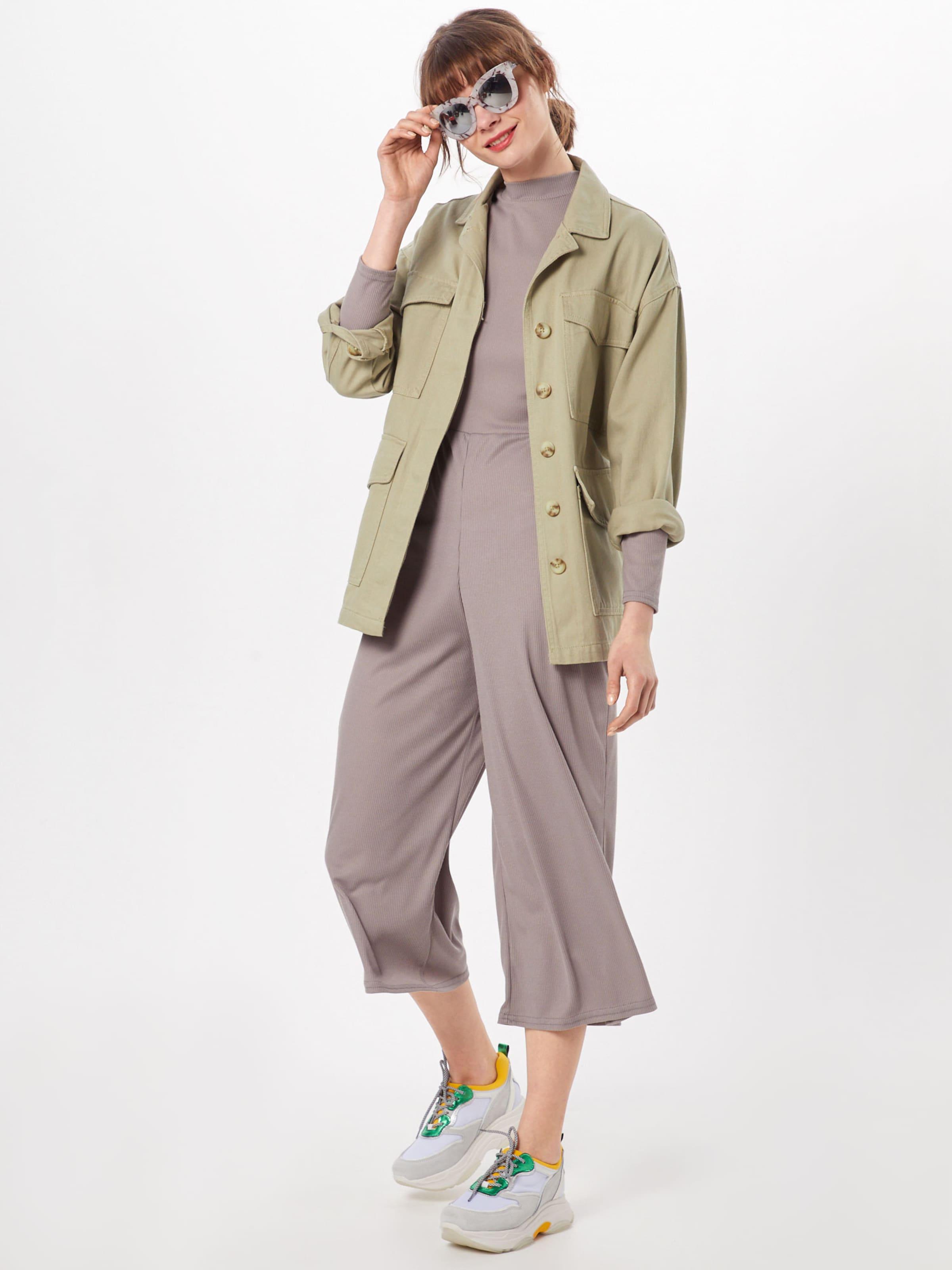 Missguided Neck 'high Ls Combinaison En Jumpsuit' Culotte Taupe Rib rQthds