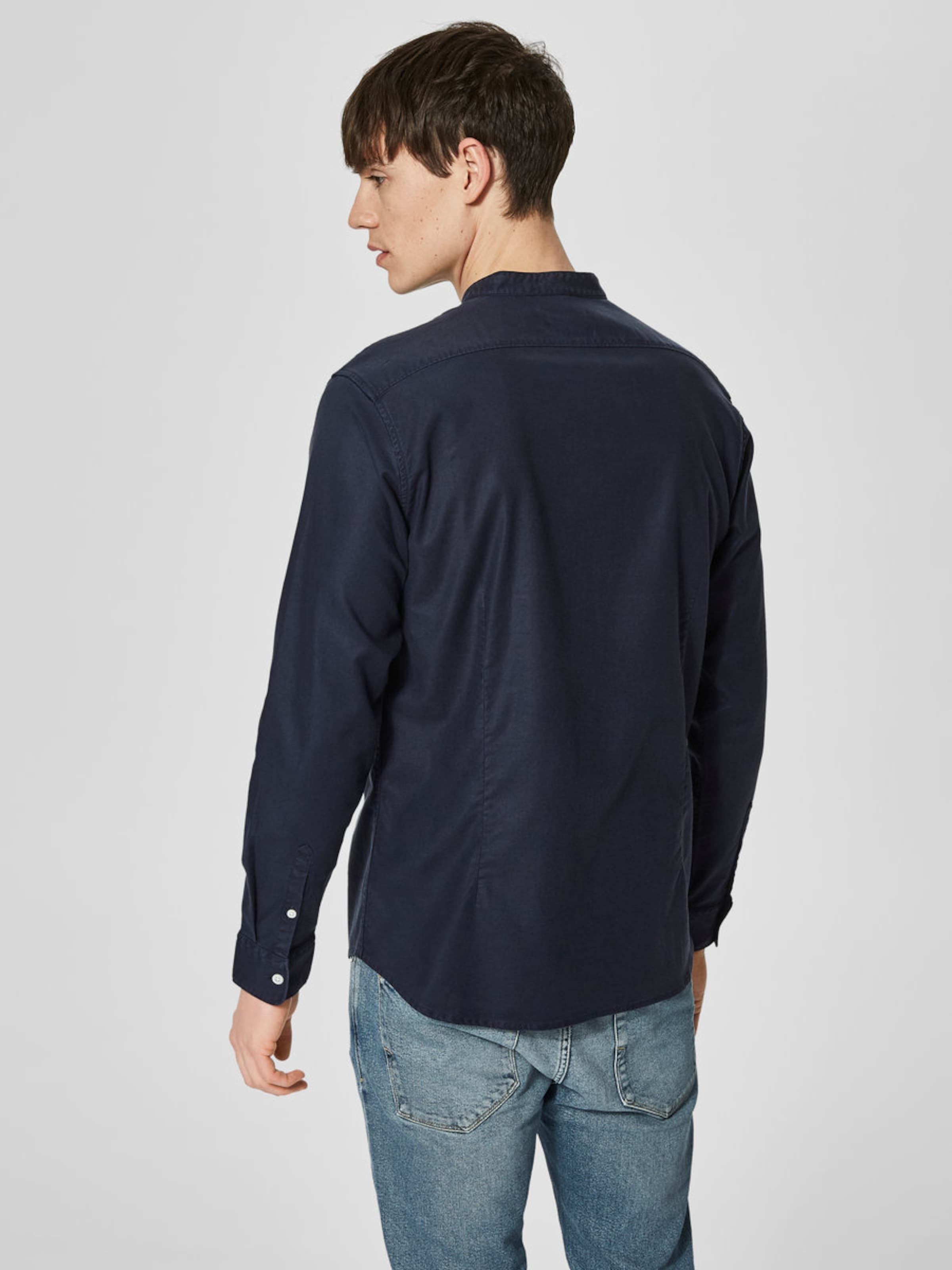 Billige Bilder SELECTED HOMME Mandarinkragen Slim Fit Hemd Vermarktbare Online Ausverkauf Verkauf Echten UNeOVH