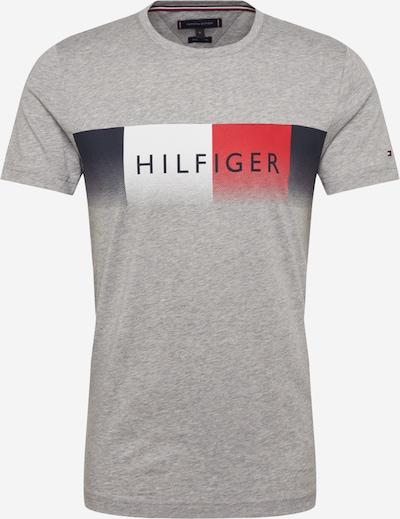 TOMMY HILFIGER T-Krekls pieejami jūraszils / raibi pelēks / sarkans / balts, Preces skats