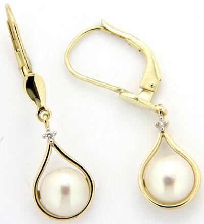 VIVANCE Jewels Paar Ohrhänger mit Brillanten in gold / perlweiß, Produktansicht