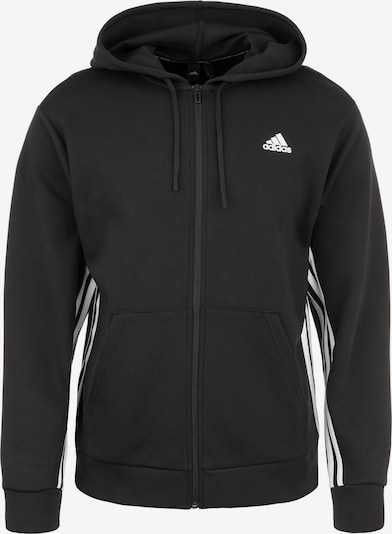 ADIDAS PERFORMANCE Sweatjacke 'Must Haves 3S' in schwarz / weiß, Produktansicht