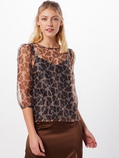VILA Blouse 'VIVANNI' in de kleur Bruin / Donkerbruin / Zwart, Modelweergave