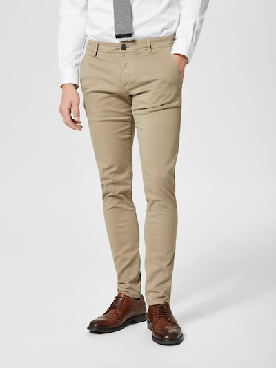 SELECTED HOMME Chino 'One Luca Phantom' in de kleur Greige, Modelweergave