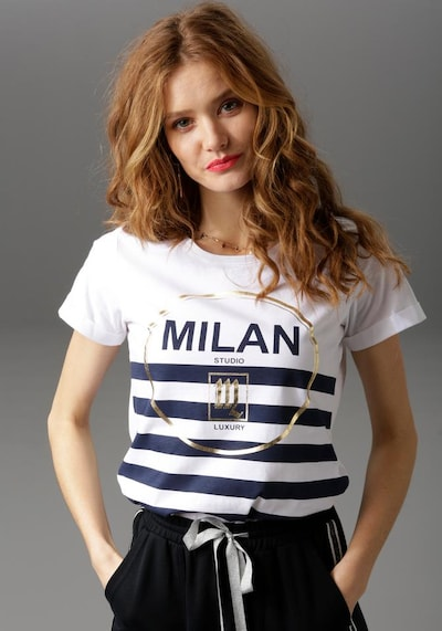 Aniston CASUAL T-Shirt in ultramarinblau / gold / naturweiß, Produktansicht