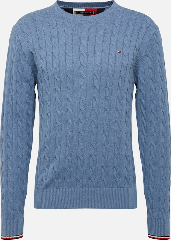 TOMMY HILFIGER Trui 'ORGANIC COTTON CABLE CREW NECK' in de kleur Indigo, Productweergave
