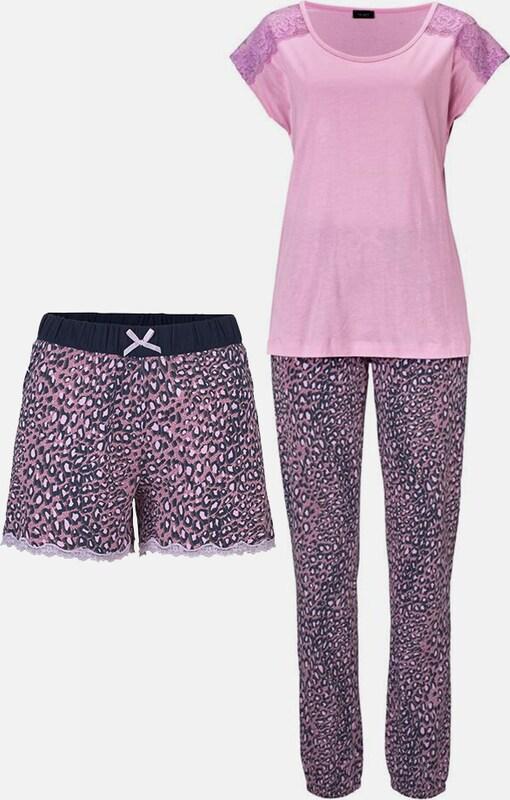 VIVANCE Pyjamaset in Leomuster mit Spitze