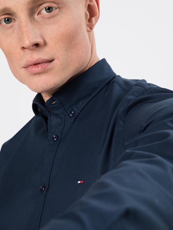 TOMMY HILFIGER Hemd 'DOBBY' in nachtblau | ABOUT YOU