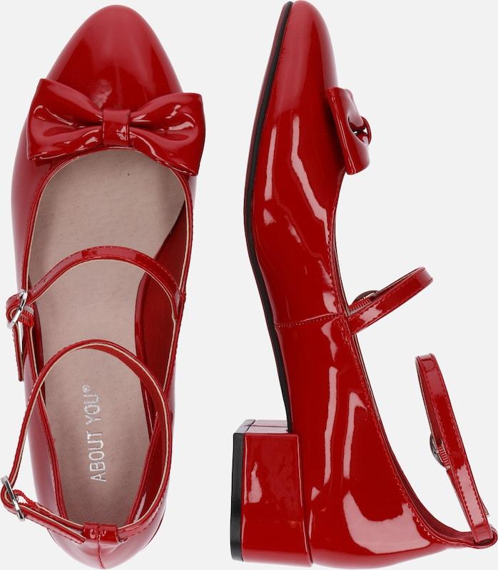 En Lanières Rouge Ballerines 'betty' Cerise À LR5j34A