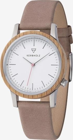 Kerbholz Uhr 'Wilma' in altrosa / silber / weiß, Produktansicht