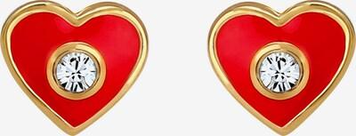 ELLI Ohrringe 'Herz' in gold / rot, Produktansicht