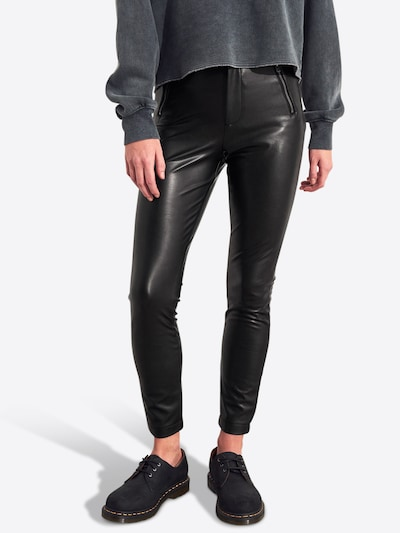 HOLLISTER Hose 'LEATHER SUPERSKINNY 1CC' in schwarz: Frontalansicht