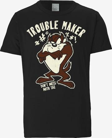 LOGOSHIRT Shirt 'Tasmanischer Teufel' in Black