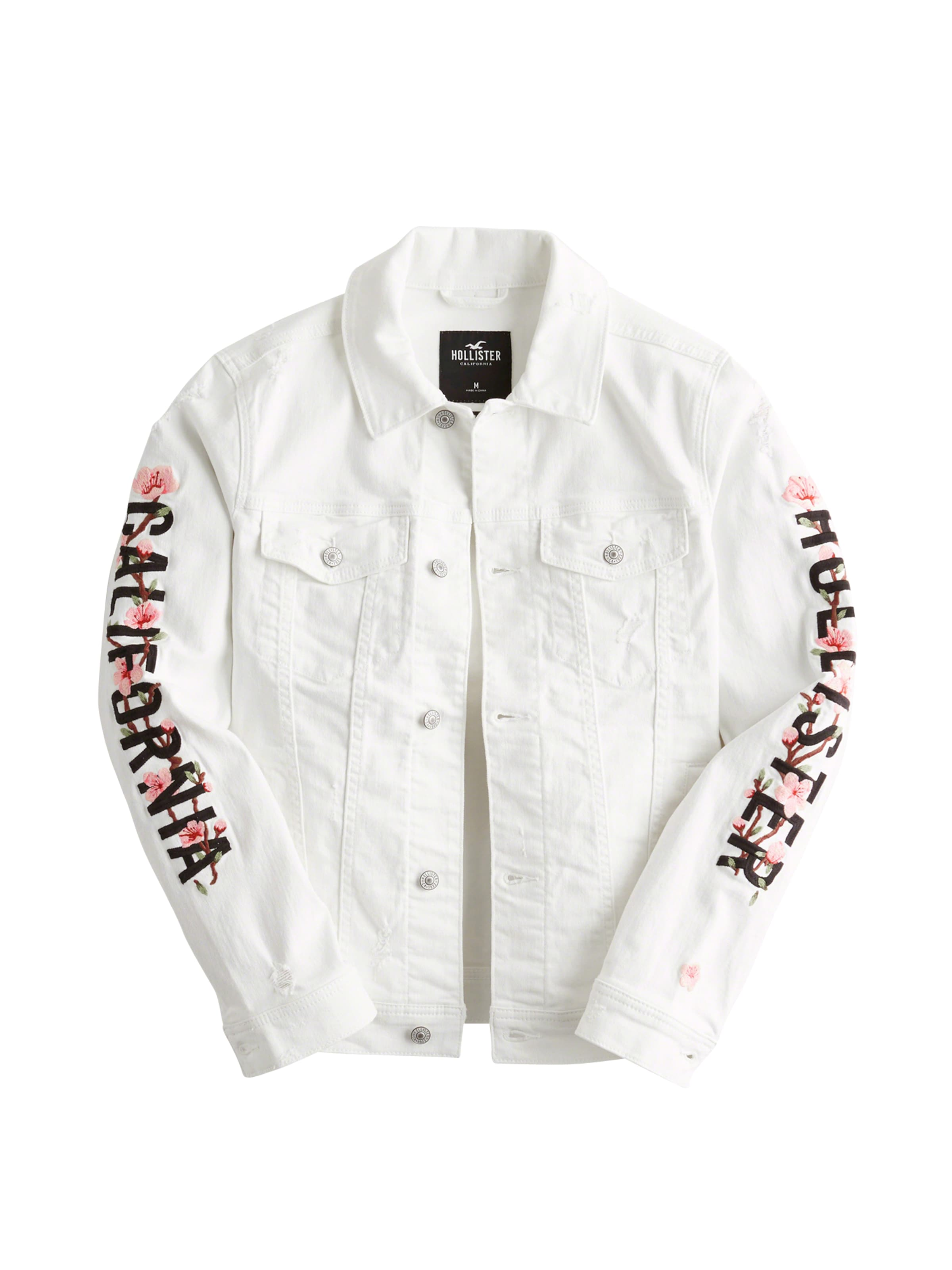 Denim saison En Hollister Veste Trucker' Blanc 'embroidered Mi Fashion nk0OwP
