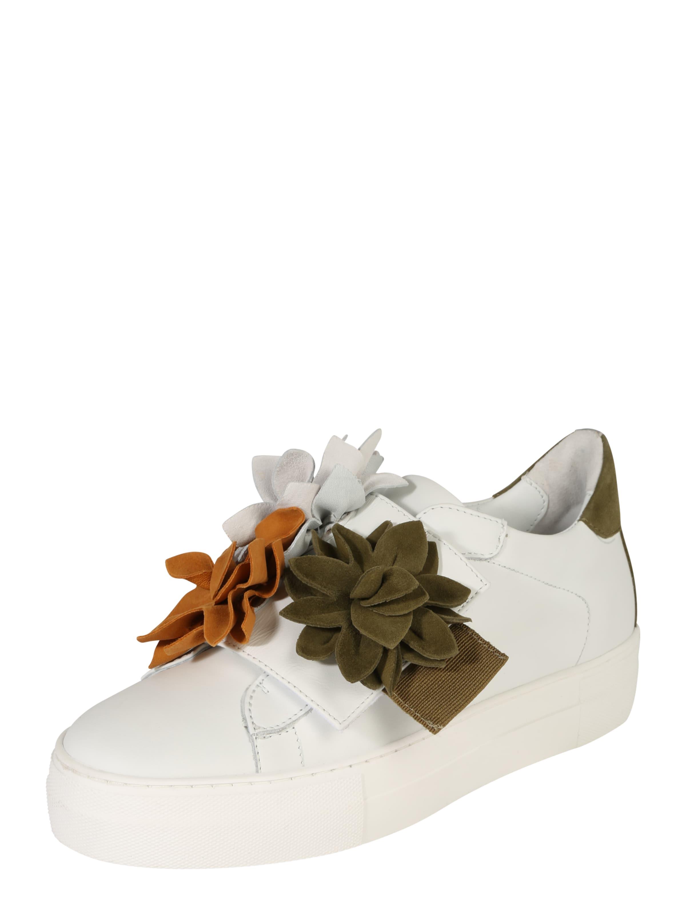Donna Carolina Sneaker mit Blumenapplikation braun / weiß eqiDEve