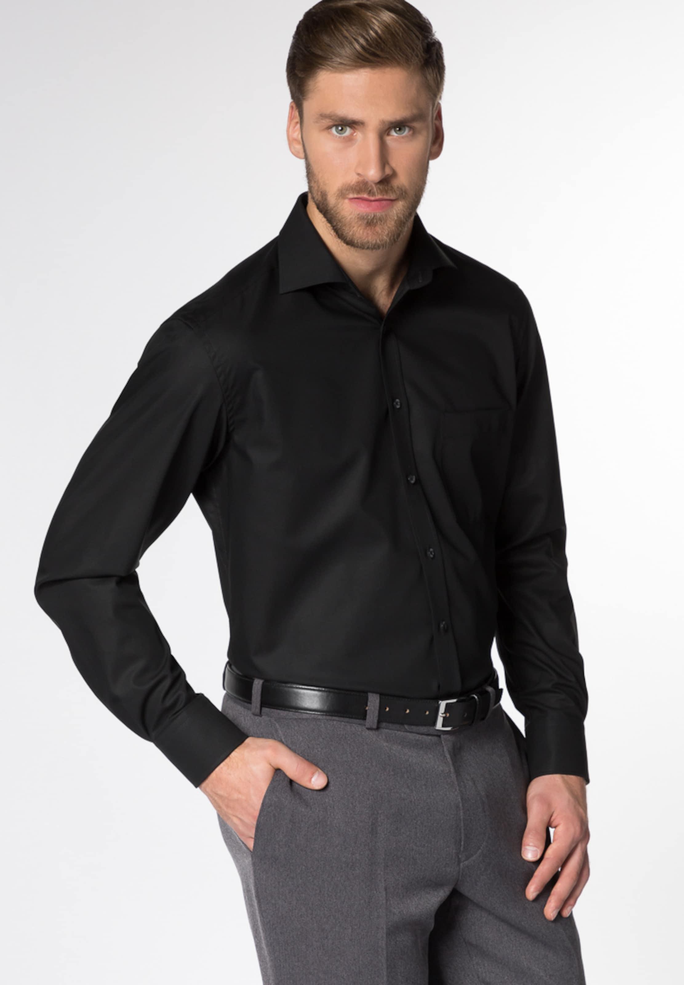 Langarm Eterna Hemd Fit Modern Schwarz In 5R4ALj