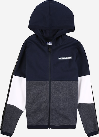 Jack & Jones Junior Sweatjacke in navy / taubenblau / weiß: Frontalansicht