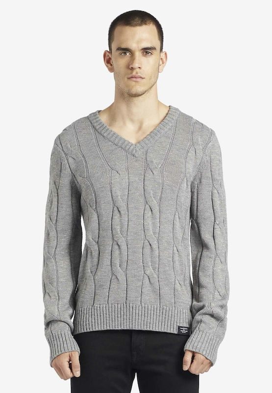khujo Pullover 'Kapono' in grau: Frontalansicht
