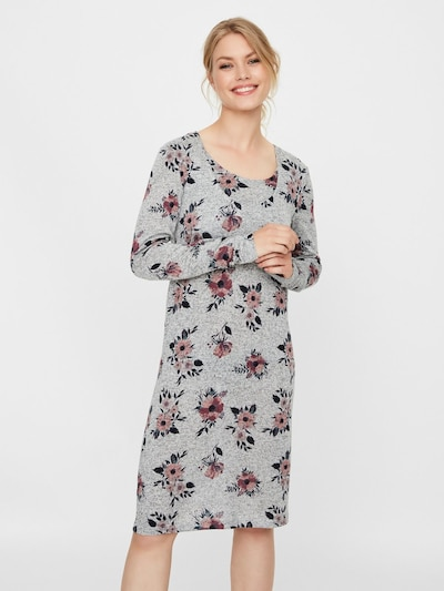 MAMALICIOUS Still-Kleid in grau / tanne / altrosa: Frontalansicht