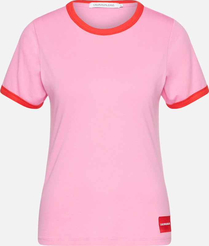T Jeans Calvin En Neck' shirt 'contrast RoseRouge Klein T1KJ5lc3uF