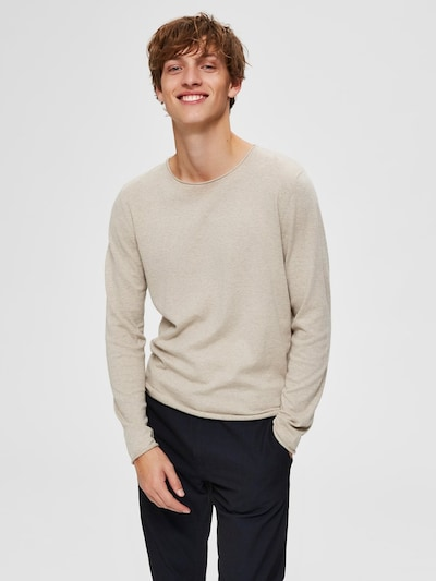 SELECTED HOMME Pullover 'SHDDOME CREW NECK NOOS' in sand: Frontalansicht