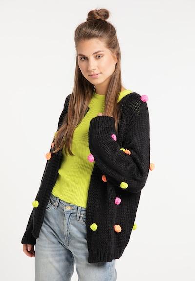 MYMO Strickjacke in gelb / pastellorange / pink / schwarz, Modelansicht