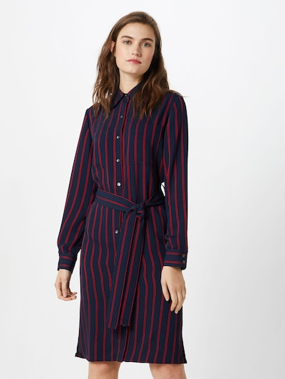 Calvin Klein Kleid 'FLUID STP SHIRT DRESS LS' in navy / rot, Modelansicht
