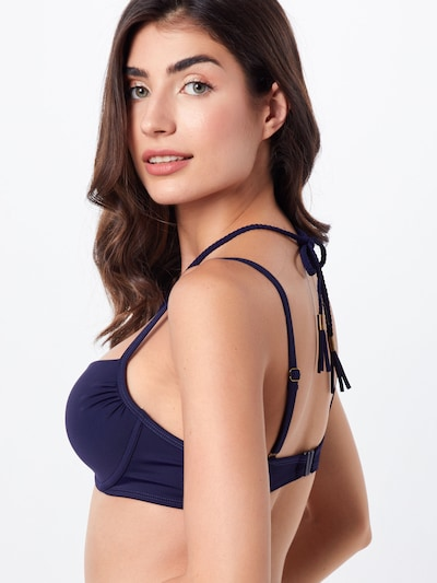 Hunkemöller Hauts de bikini 'Braided rings Demi PW' en bleu / bleu foncé: Vue de dos