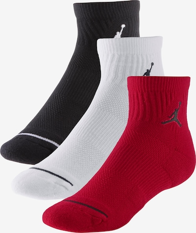 Jordan Chaussettes de sport 'Quarter' en rouge / noir / blanc, Vue avec produit