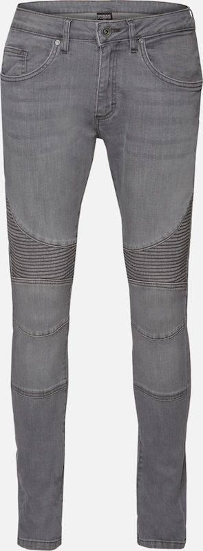 Urban Classics Slim Fit Biker Jeans in grey denim, Produktansicht