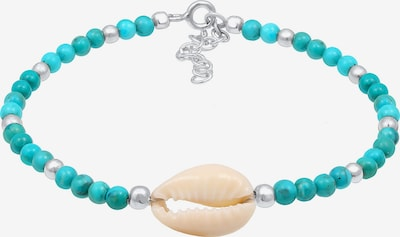 Nenalina Armband 'Muschel' in champagner / türkis / silber, Produktansicht