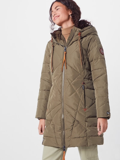 khujo Wintermantel 'DANIELLA' in de kleur Kaki, Modelweergave