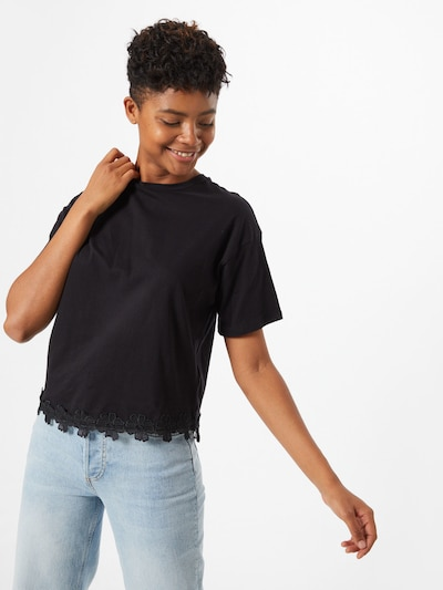 NEW LOOK Koszulka 'FLOWER' w kolorze czarnym: Widok z przodu
