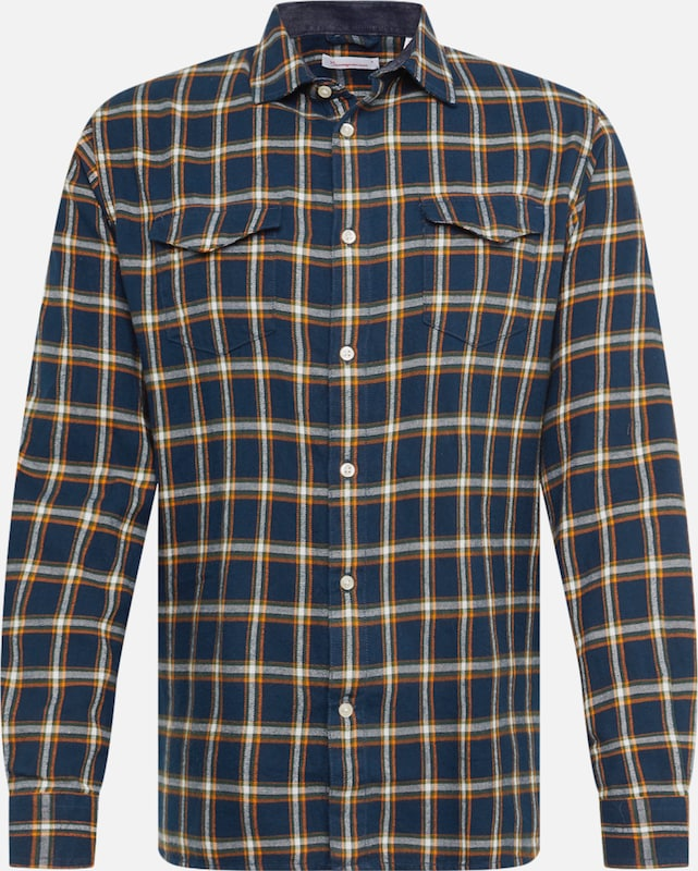 KnowledgeCotton Apparel Overhemd 'Flannel Checked Shirt' in de kleur Donkerblauw / Sinaasappel / Wit, Productweergave