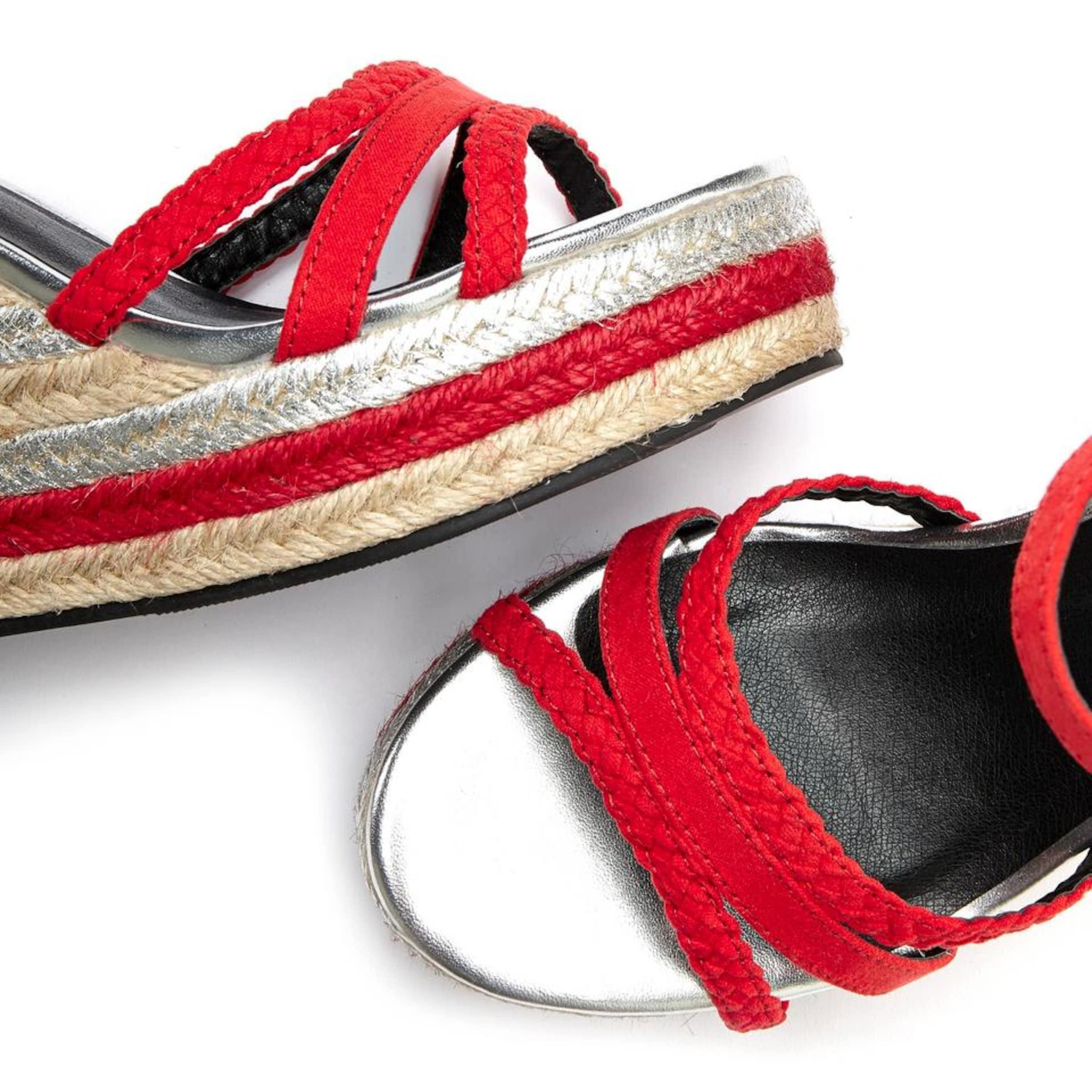 LASCANA Sandalette in hellbeige / rot / silber