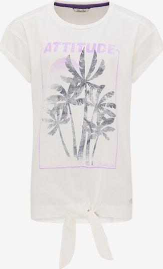 Petrol Industries T-Shirt in beige / lila / schwarzmeliert / weiß: Frontalansicht