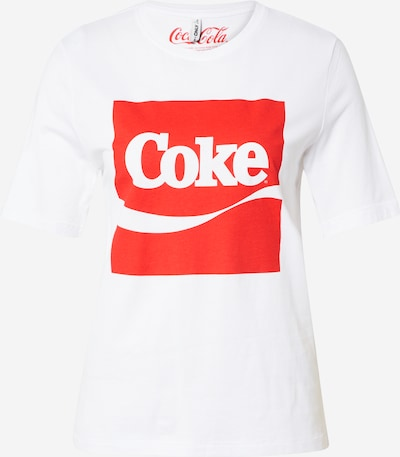 ONLY Shirt 'ONLCOKE BOXY S/S SMILE TOP BOX ACID JRS' in rot / weiß: Frontalansicht