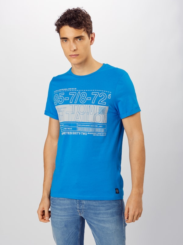 TOM TAILOR T-Shirt 'with artwork' in blau: Frontalansicht