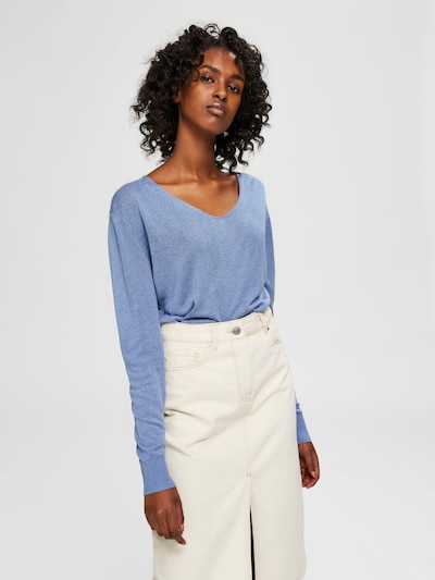 SELECTED FEMME Pull-over en bleu, Vue avec modèle