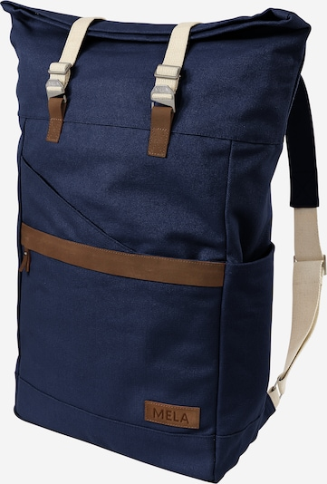 MELAWEAR Rucksack 'Ansvar I' in dunkelblau / braun, Produktansicht
