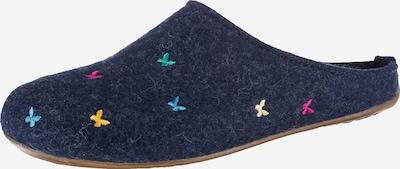 HAFLINGER Pantoffeln in blau / türkis / hellgelb / hellpink, Produktansicht