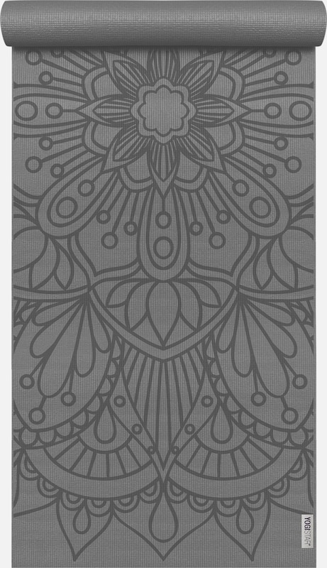 YOGISTAR.COM Yogamatte 'Basic Art Collection Lotus Mandala' in grau / anthrazit, Produktansicht