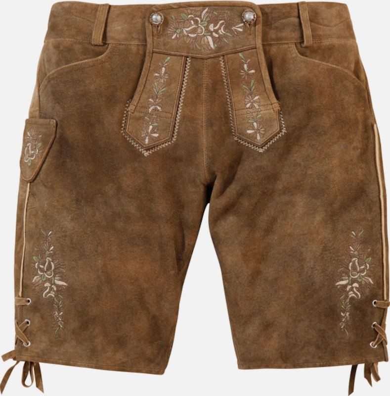 Country Line Costume Leather Bermuda Women With Subtle Embroidery