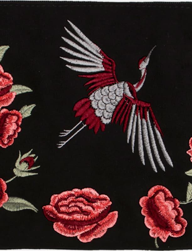 HALLHUBER Velours-Clutch mit Stickereien